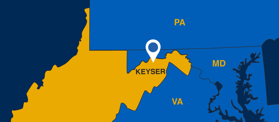Map of the state of WV showing Keyser, WVU's home in the Eastern Panhandle of the state. It borders MA, Maryland, and Virginia.